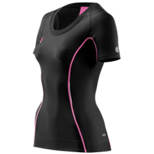 Skins A200 Womens Top Short Sleeve - Kompressionströja - Black/Pink